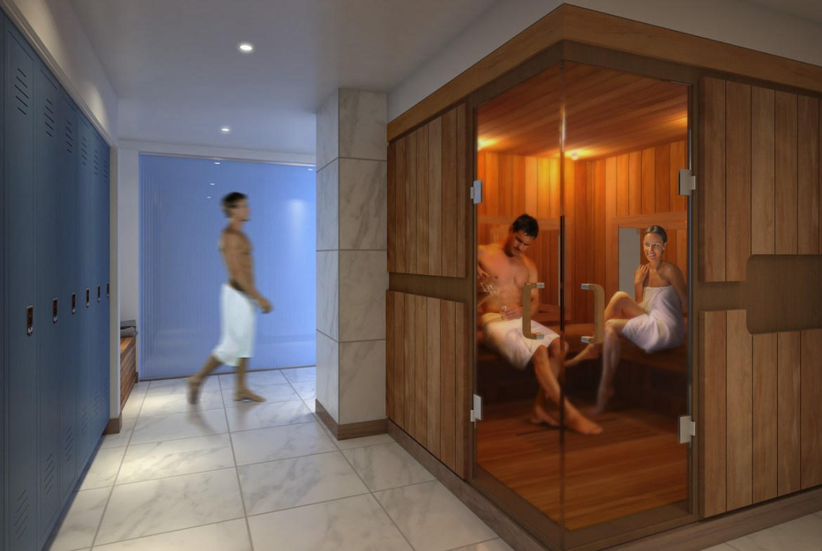 Rendering of SKY Residences at ICE District sauna.