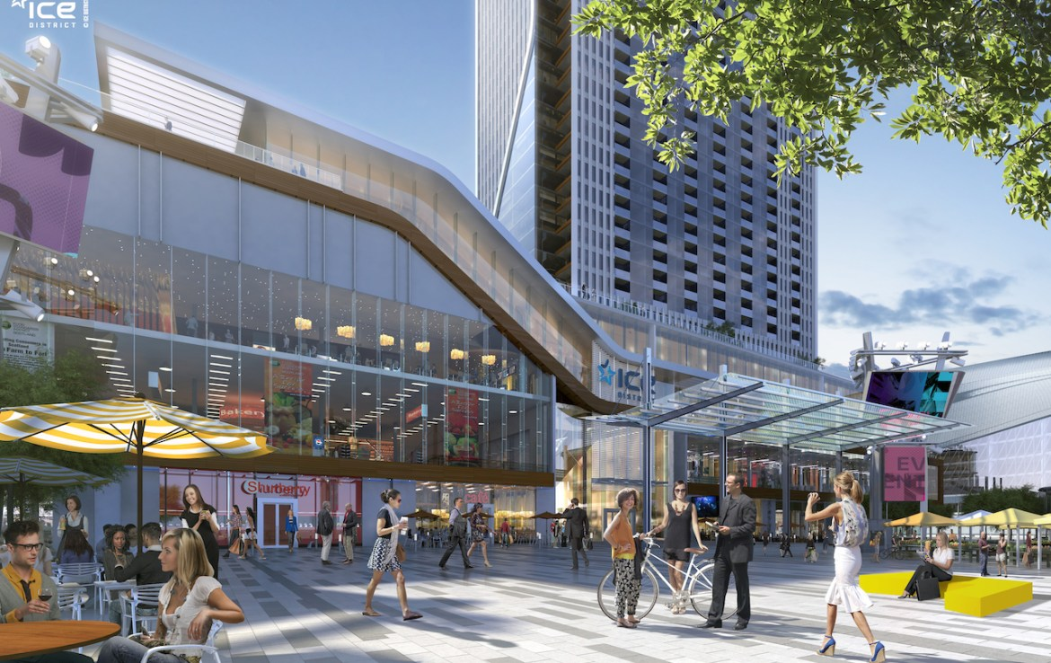 Rendering of SKY Residences ICE District shopping hub.