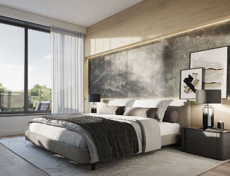 Rendering of The Forest Hill Private Residences bedroom.