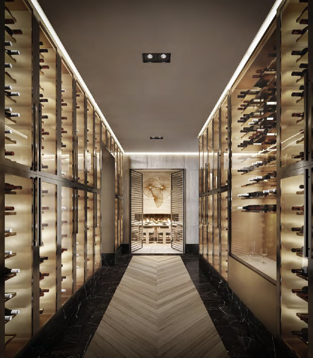 Rendering of The Forest Hill Private Residences exclusive wine collection.