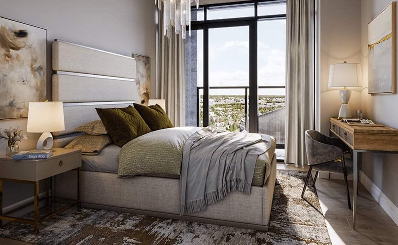 Rendering of ORO Condos penthouse moonstone bedroom