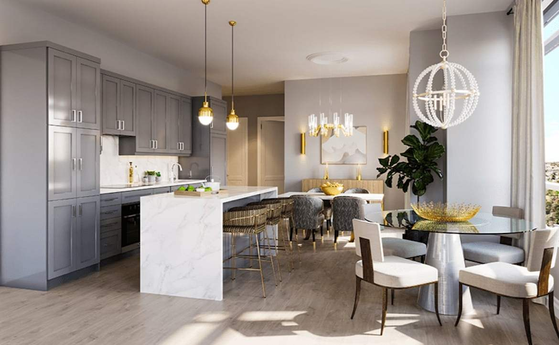 Rendering of ORO Condos penthouse moonstone kitchen