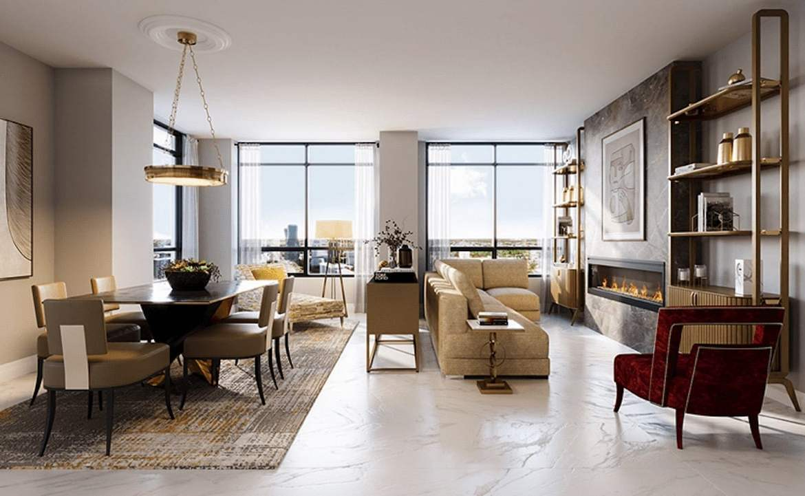 Rendering of ORO Condos penthouse onyx living room