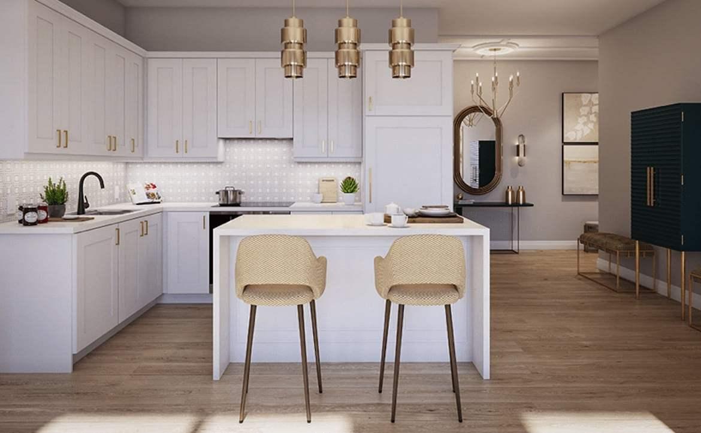 Rendering of ORO Condos penthouse tiffany stone kitchen