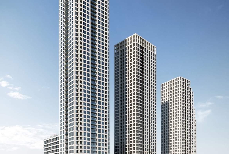 Rendering of ORO Condos towers