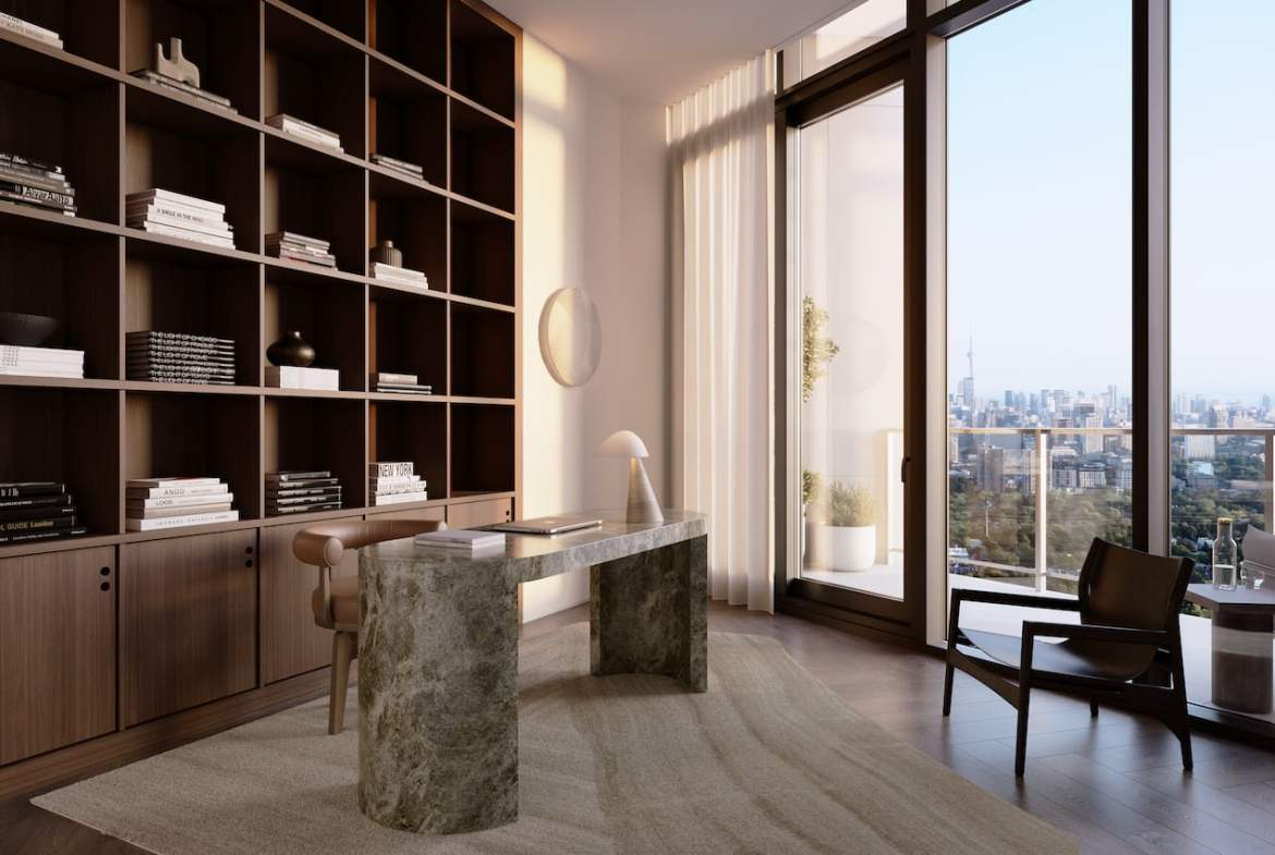Rendering of One Delisle Penthouse interior office