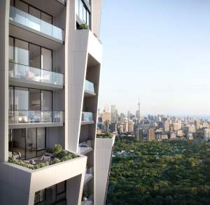 Rendering of One Delisle Condos terrace suites views of Toronto