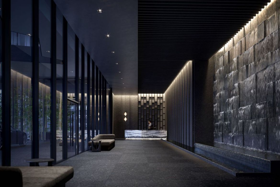 Rendering of Untitled Condos lobby at night.