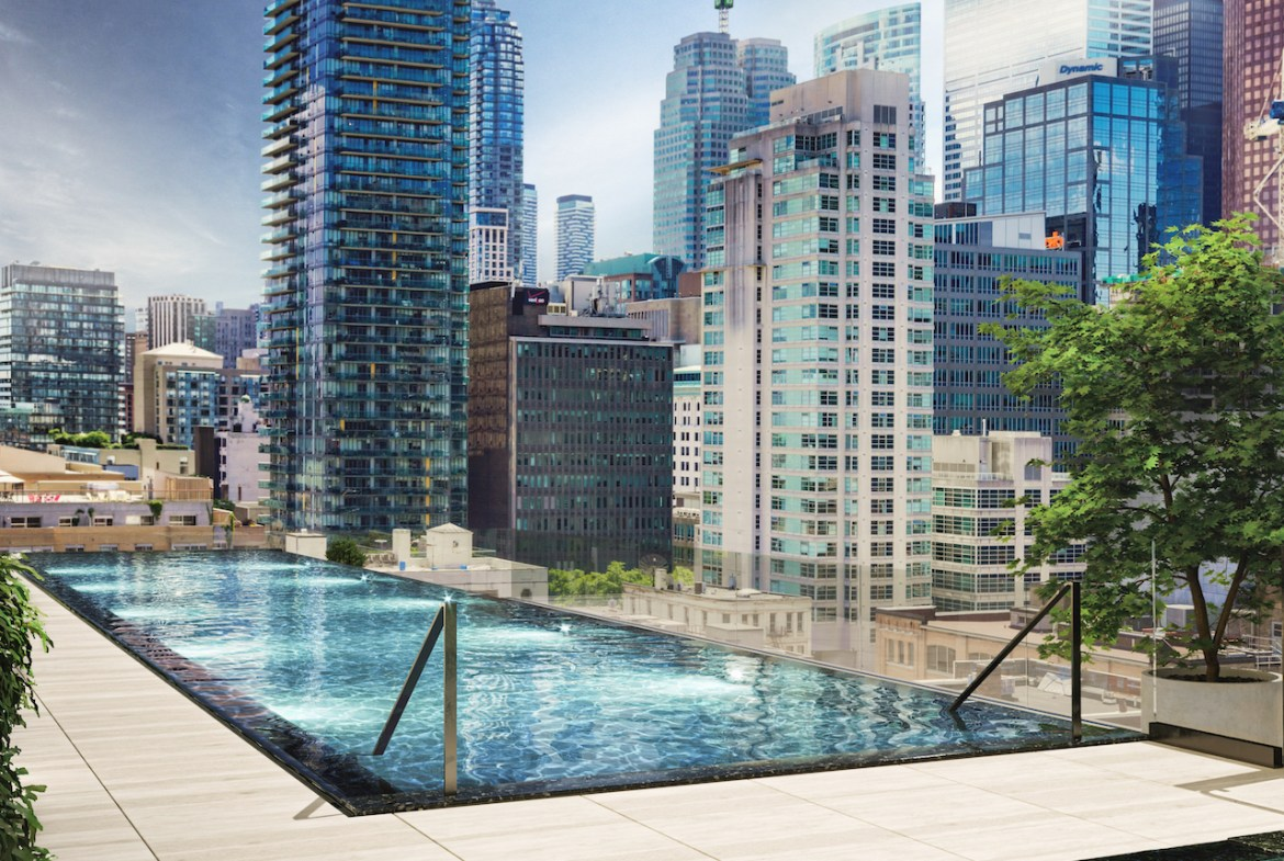 Rendering of 88 Queen Condos pool with city view.