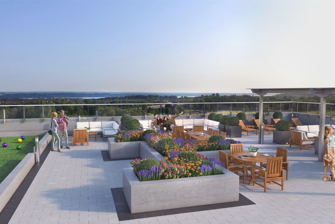 Rendering of South District Condo rooftop terrace.
