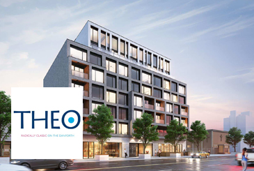 Exterior rendering of THEO Condos with logo overlay.