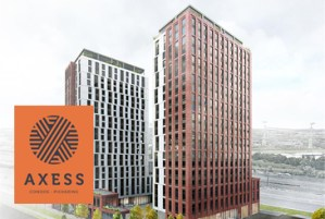Rendering of Axess Condos Pickering with logo overlay.