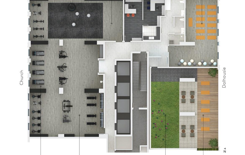Rendering of 199 Church Condos amenity flat plan level 3.