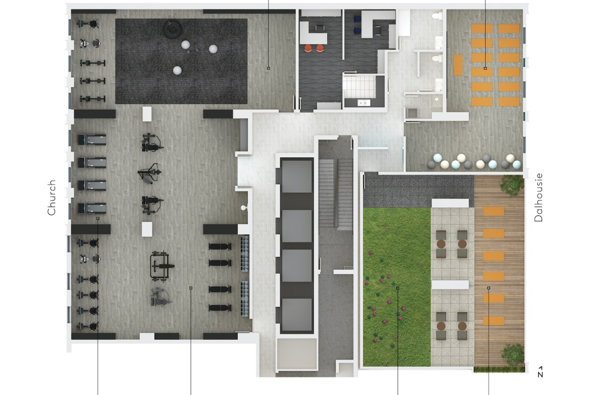 Rendering of 199 Church Condos amenity flat plan level 3.