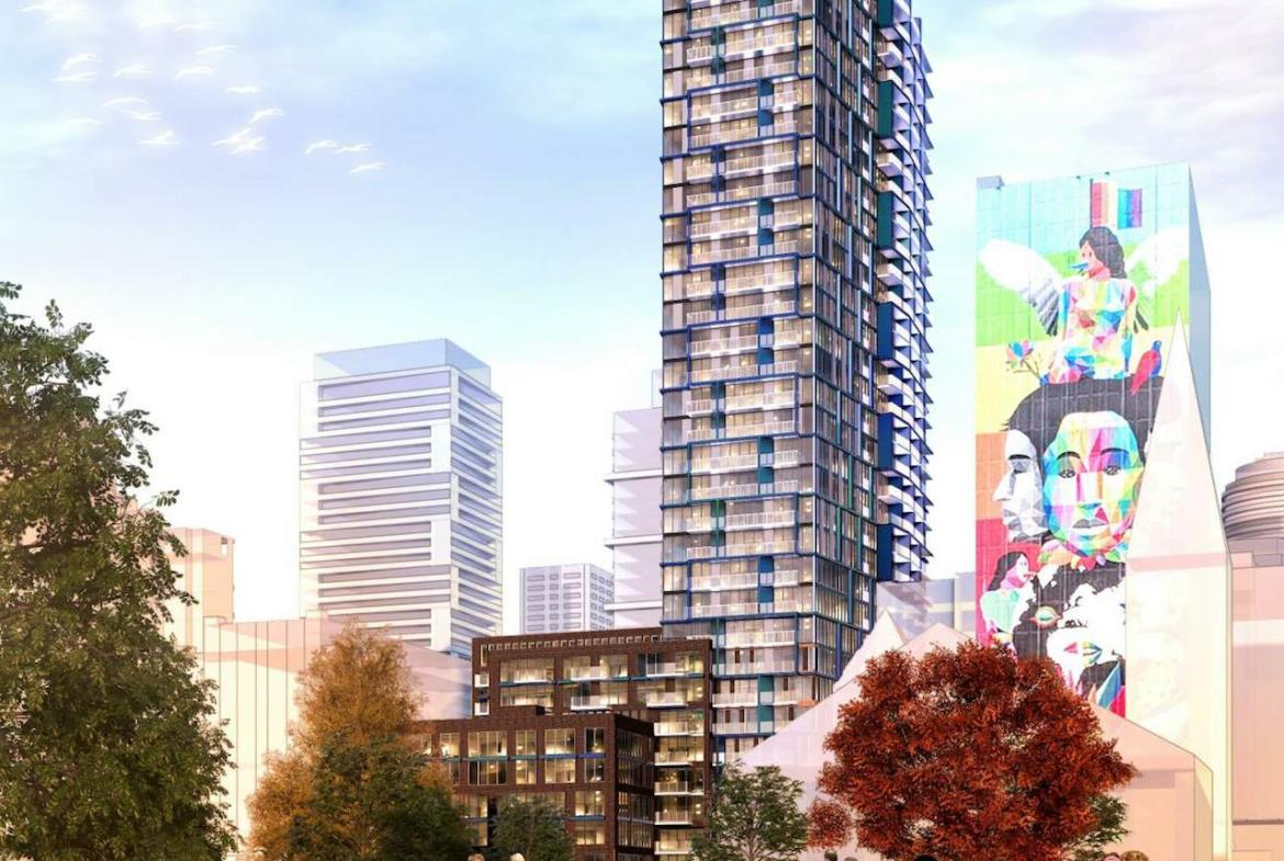 Exterior rendering of 308 Jarvis Condos with community and art.