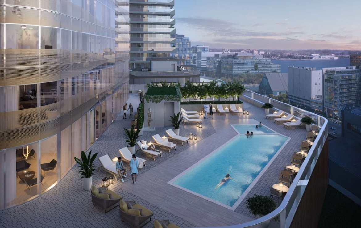 Rendering of One Yonge SkyTower outdoor pool terrace.