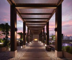 Rendering of Canary House Condos outdoor terrace in the evening