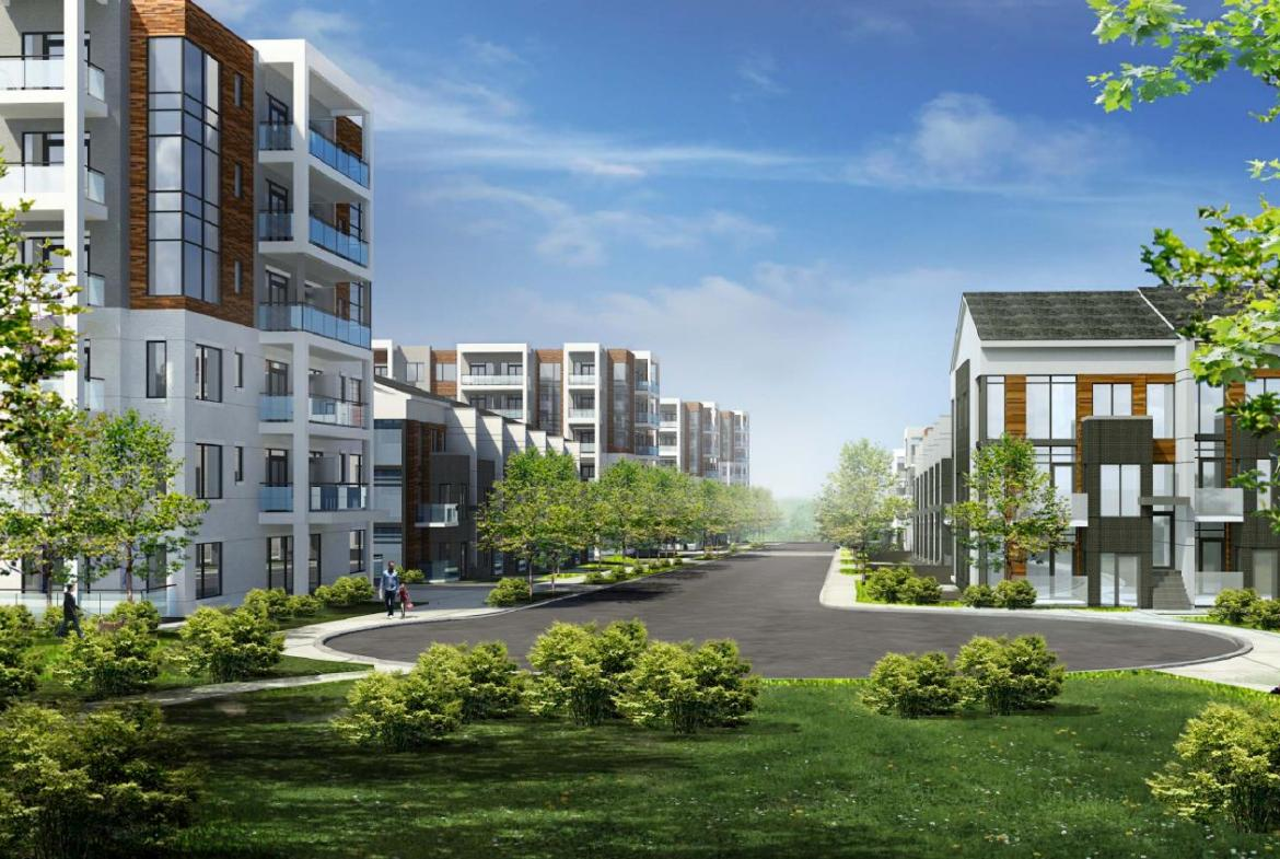 Rendering of Daniels Firsthome Keelsedale condos and towns.