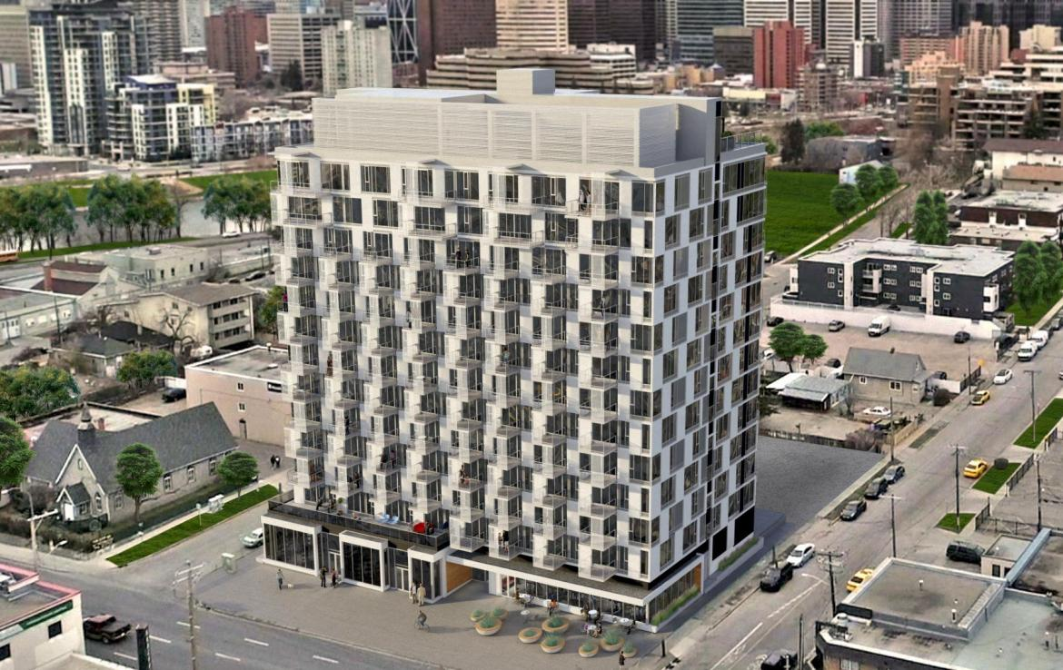 Rendering of Era Condos building exterior.