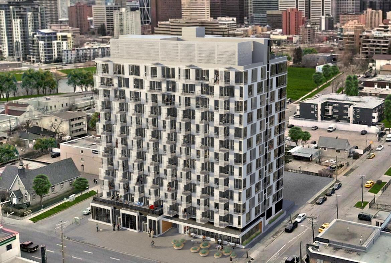 Rendering of Era Condos building exterior.