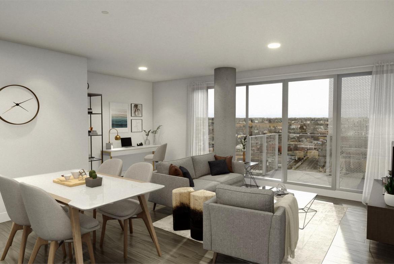 Rendering of Era Condos suite interior dining and living area.