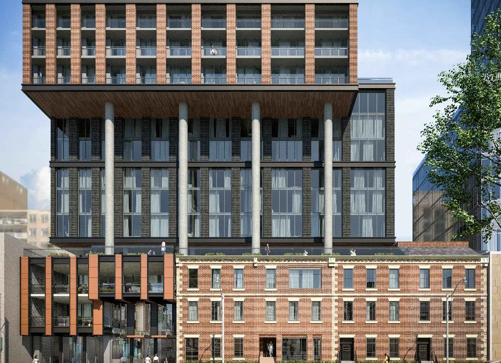 Exterior rendering of MODE Condos at street-level.