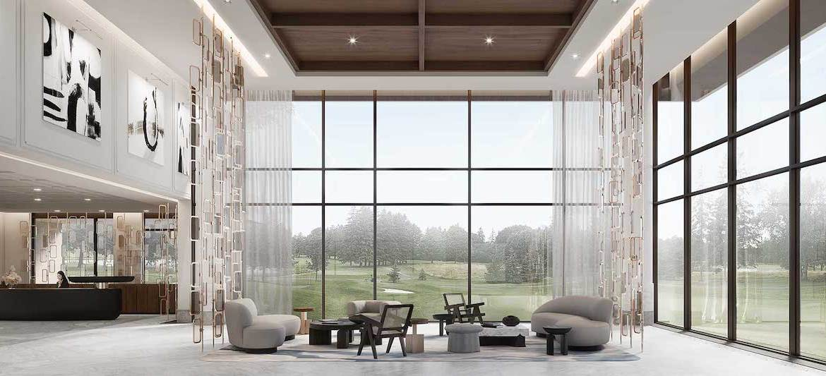 Rendering of Royal Bayview Condos lobby with large windows.