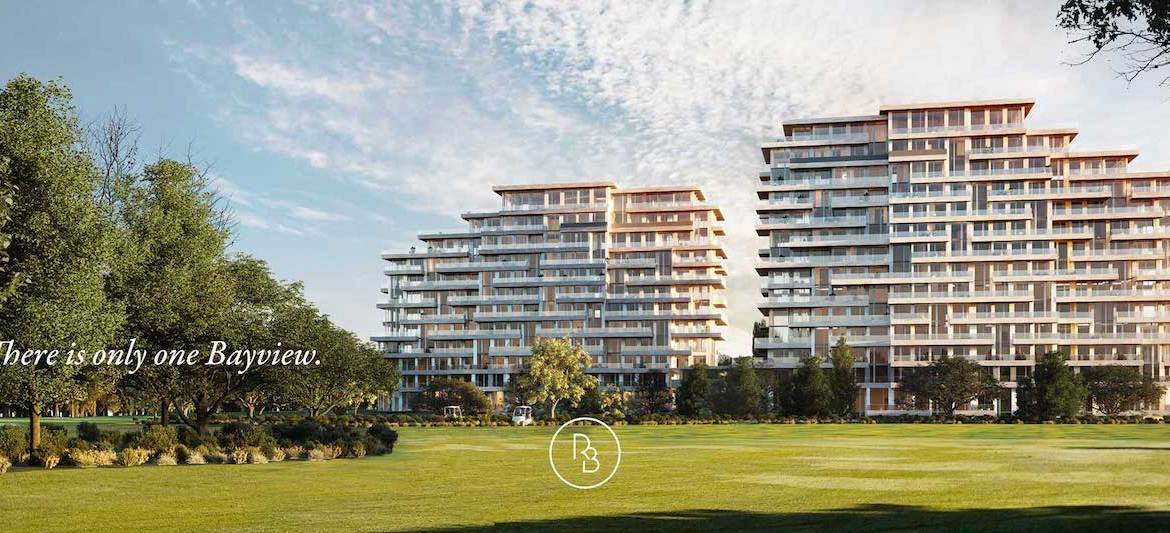 Rendering of Royal Bayview Condos exterior during the day.