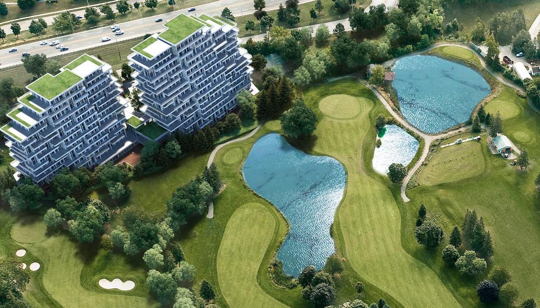 Aerial rendering of Royal Bayview Condos.