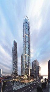 Exterior rendering of SkyTower condos in Toronto.