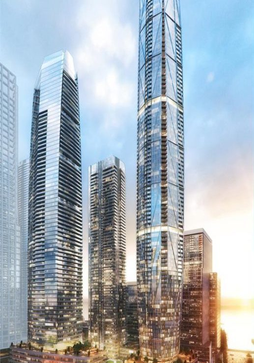 Exterior rendering of SkyTower and Prestige condos in Toronto.