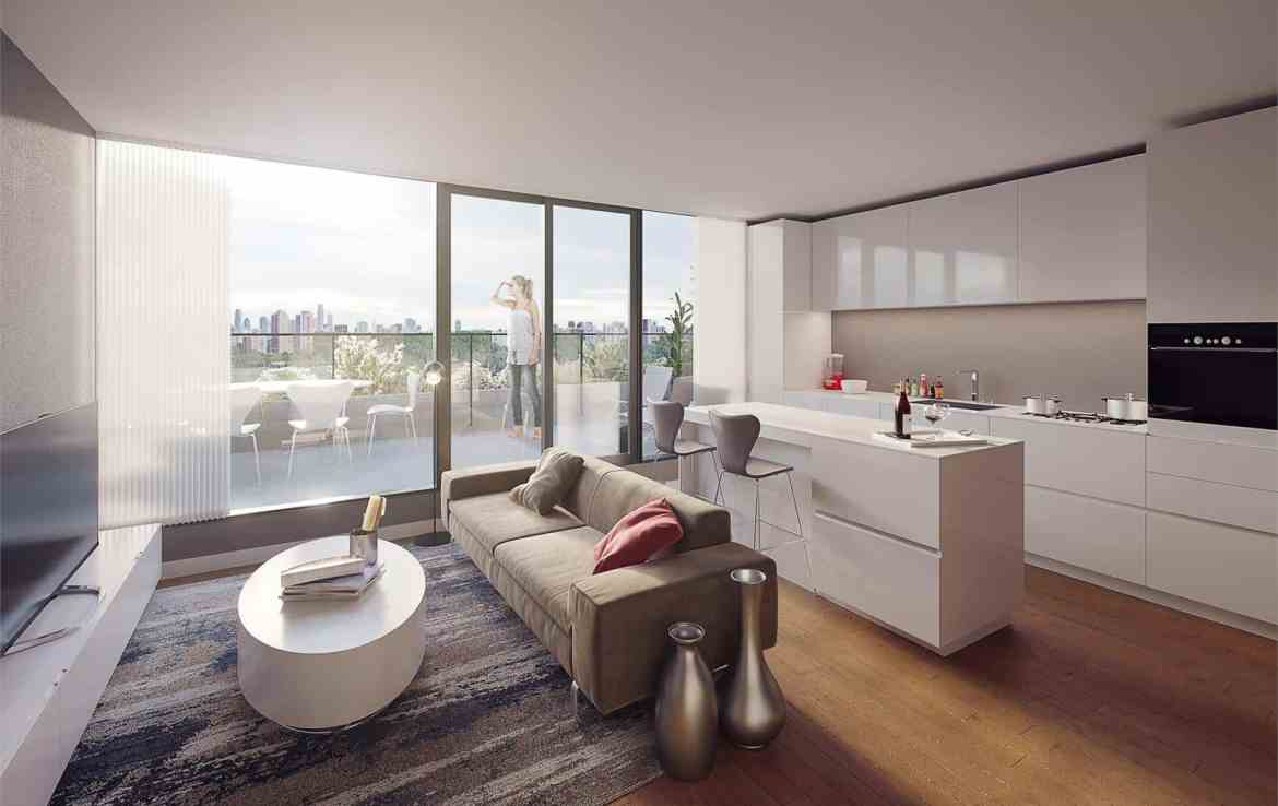 Rendering of THEO Condos Danforth Toronto suite interior.