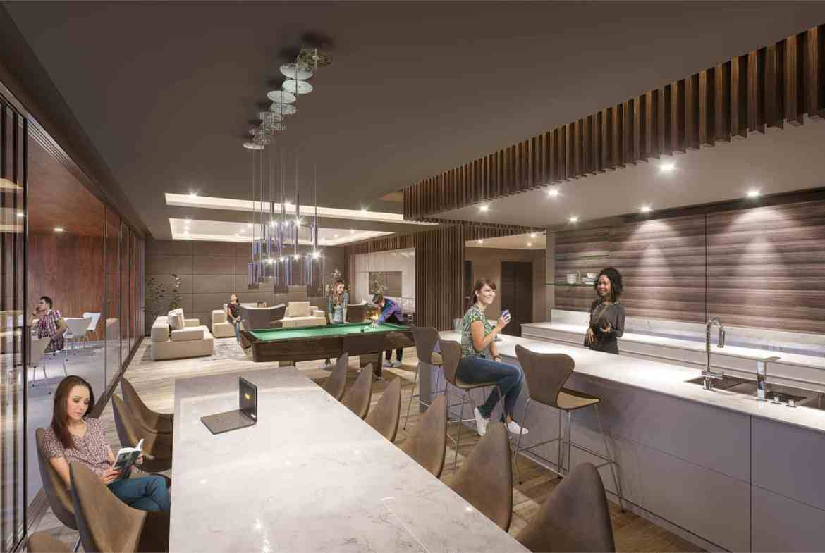 Rendering of THEO Condos Danforth Toronto party room.