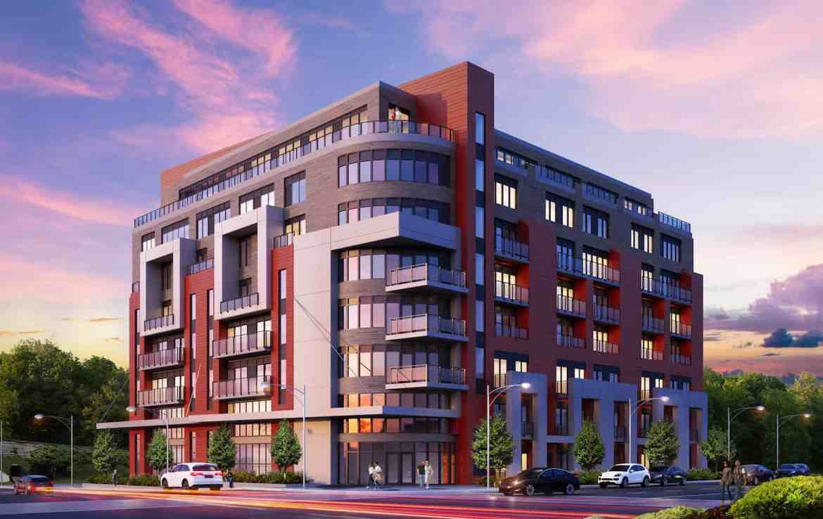 Exterior rendering of 8 Haus Boutique condos at dusk.
