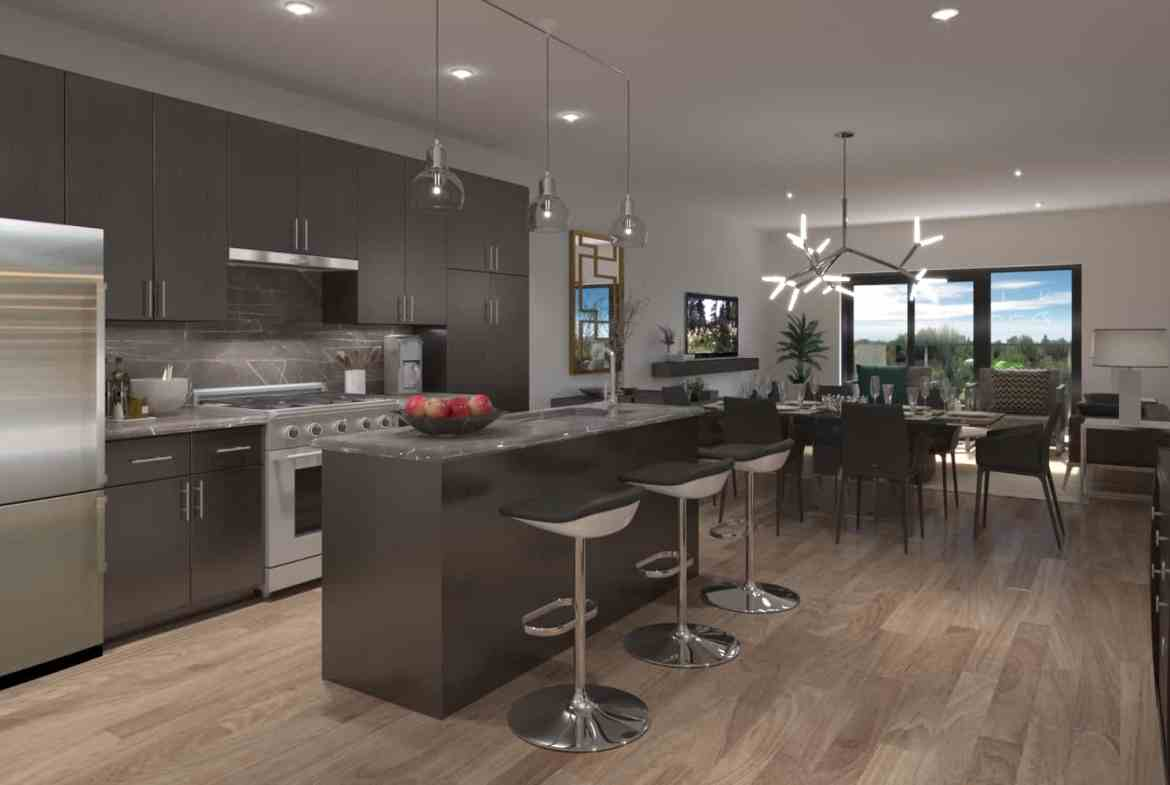 Interior rendering of 8 Haus Boutique condo unit kitchen and dining area.