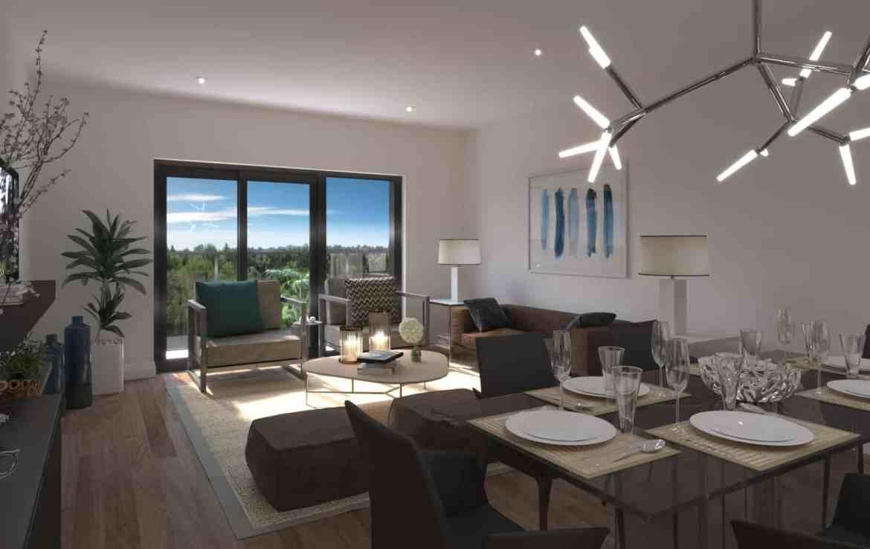 Interior rendering of 8 Haus Boutique condo unit living room.