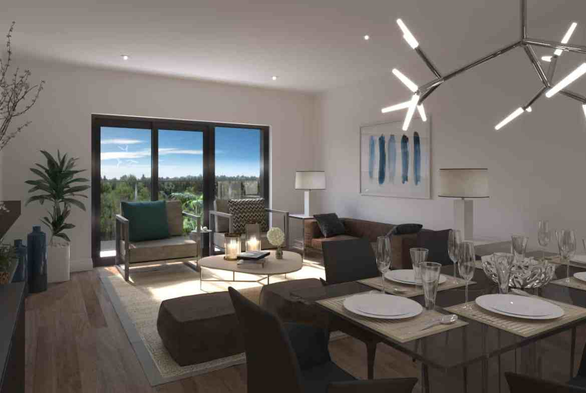 Interior rendering of 8 Haus Boutique condo unit living room.