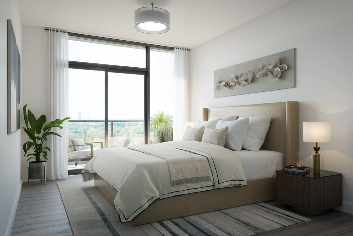 Rendering of 8188 Yonge Condos suite interior bedroom.