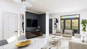 Rendering of Harbour Place Towns living room