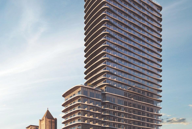 Rendering of Artistry Condos full building exterior.