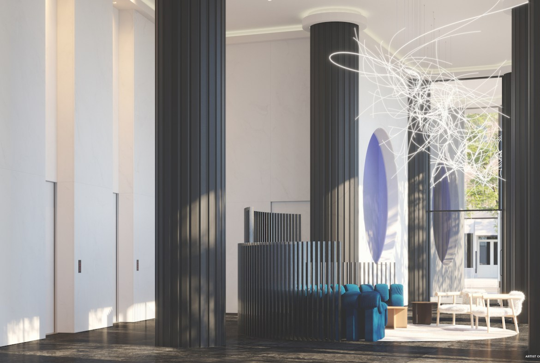 Rendering of Artistry Condos lobby interior.