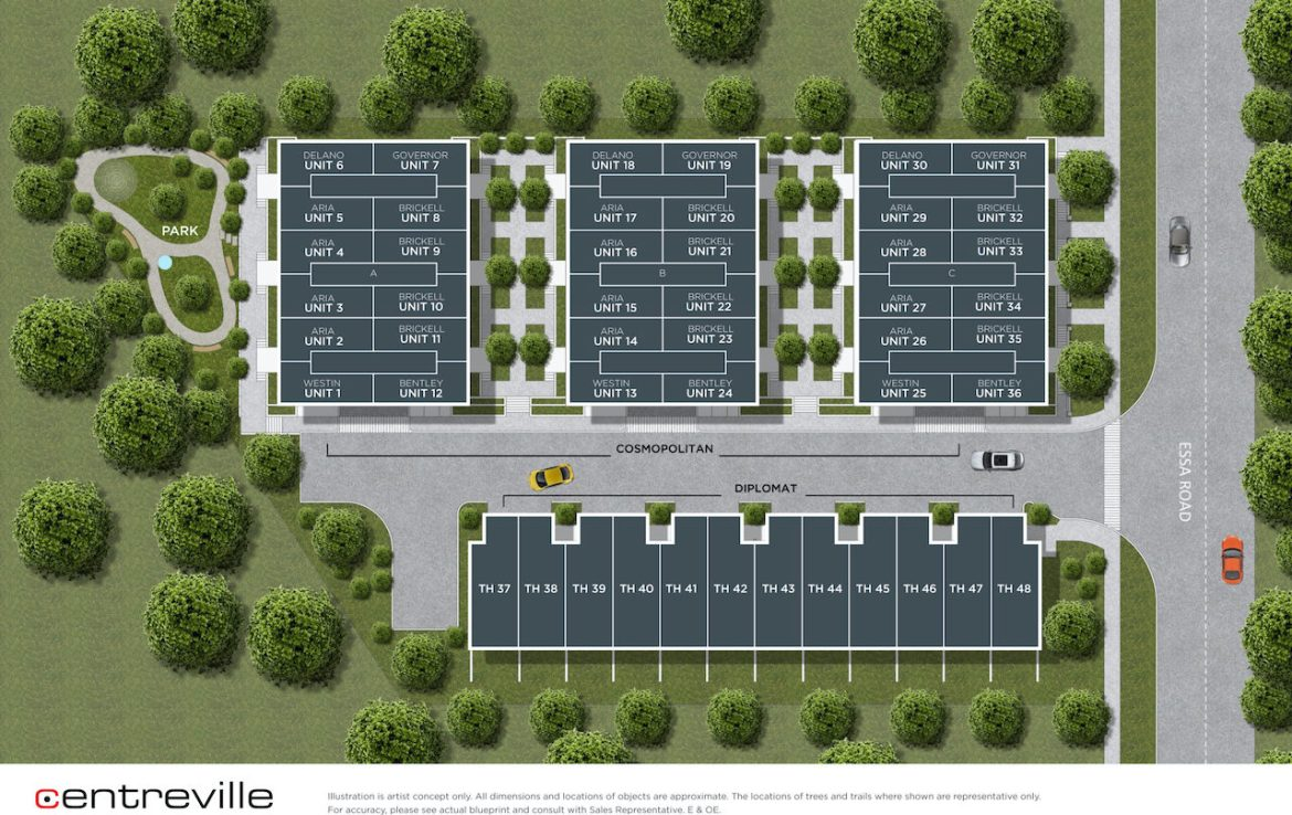 Rendering of Essa Towns site plan.