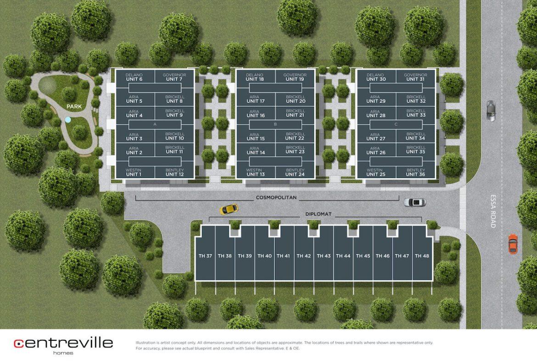 Rendering of Essa Towns site plan.