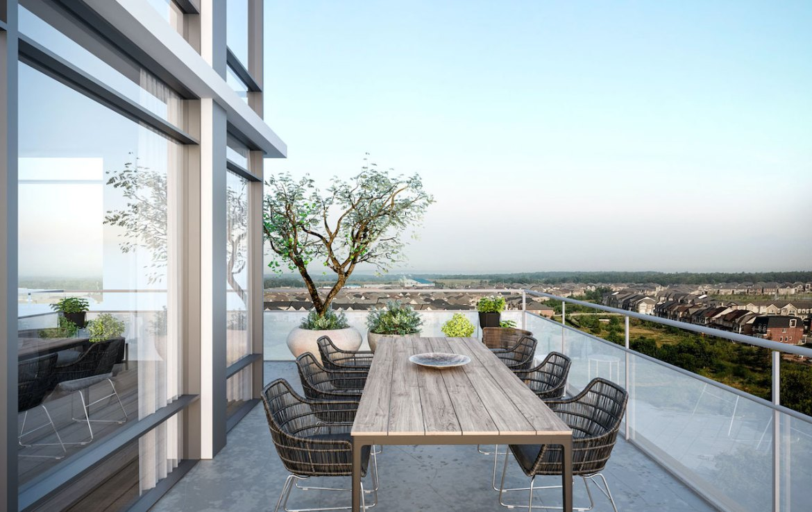Rendering of Distrikt Trailside 2.0 Condos suite outdoor terrace with dining.