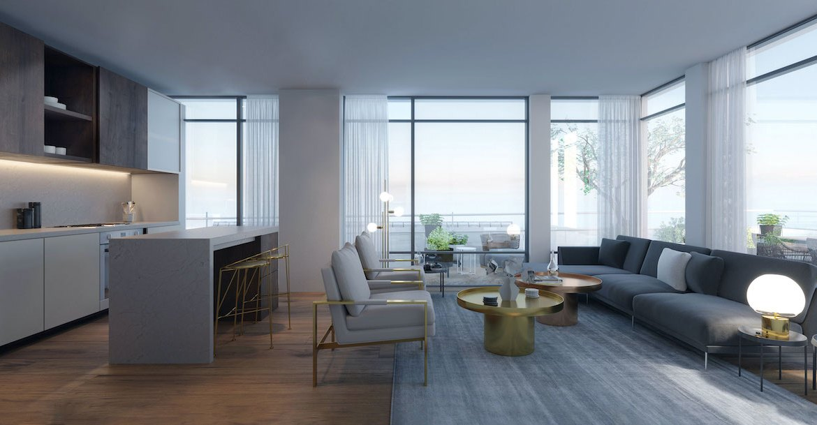 Rendering of Distrikt Trailside 2.0 Condos suite interior living room.