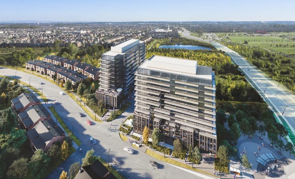 Rendering of MontVert Condos exterior aerial view.