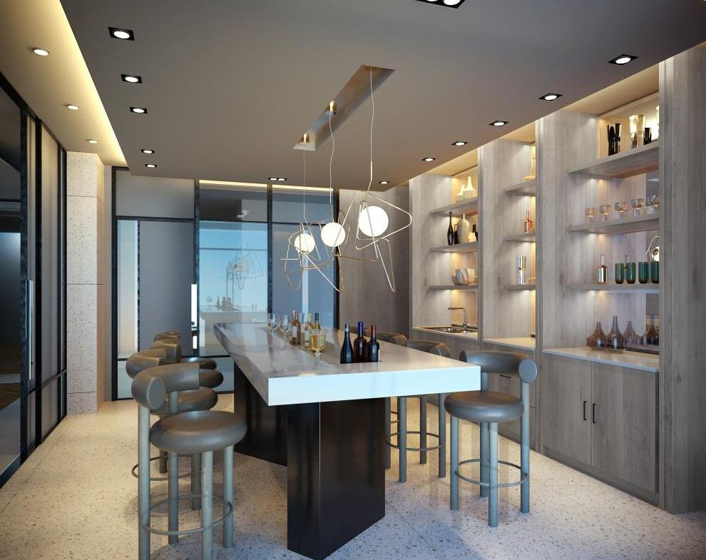 Rendering of MontVert Condos private dining room and bar.
