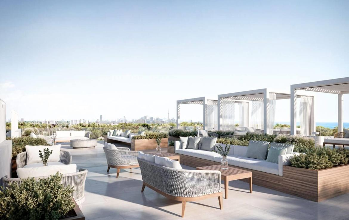 Rendering of Westport Condos rooftop terrace with views of Toronto.