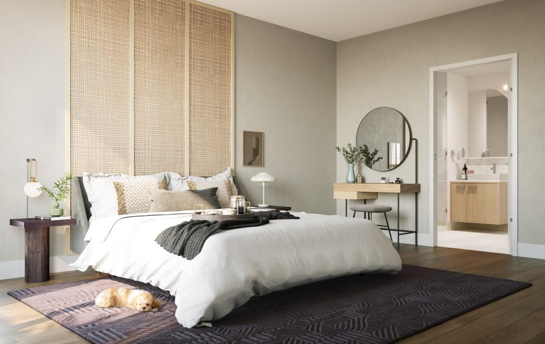 Rendering of The Tailor Queensway Residences suite bedroom.