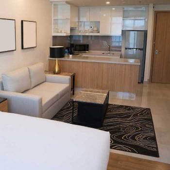 small but modern studio-size condo unit.